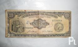 For Sale 1949 OLD Ten Pesos Bill contact me