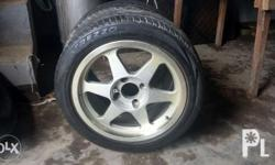 """For sale 1 pc mags 16"""" w/ tire 4 holes pcd 114.w/ 1 pc"""