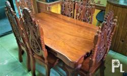 6-seater rectangular table and 6 chairs very thick wood