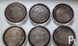 Lot of 6 pcs US-PI small peso silver coins. 1907 one