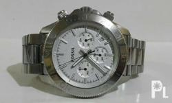 Authentic fossil watch for men. All stainless steel,