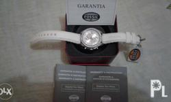 Fossil lady watch. white, sligthly used good as new no