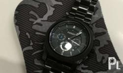 Authentic Fossil Stainless Black w/ Tincan and Manual