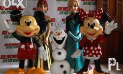 Customized fiberglass statues of Elsa (5ft), Anna (4ft