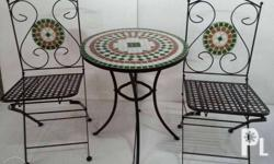 2 seater Mosaic Garden Set. Chairs fold-able. In black