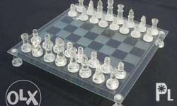 COMPLETE WITH BOX -Frosted and Clear Chess Pieces -In