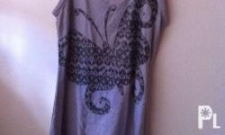 Gray tank top with black butterfly print and lace