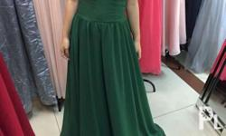 Green offshoulder gown Fits s-m frames Model is 5�2