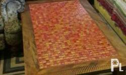 Brand new Handmade reclaimed wood mosaic tile table for