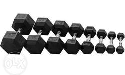 Rubberized Hexagon dumbbells 50 php per pound. Example