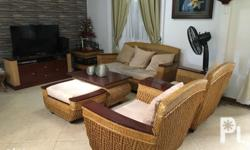 Rattan-twined 6 piece living room set with TV cabinet