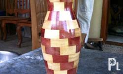 "Wood vase ...size ( around 5"" diameter and 12"""