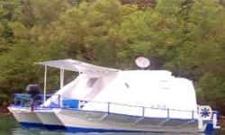Houseboat trimaran boat,it's a double floor and it's