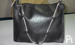 IMPORTED LEATHER BAG, PLASTIC HANDLE, BLACK COLOR,