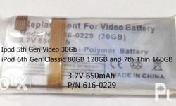 iPod Replacement Lithium Polymer Batteries:BNEW/