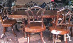 Iron wood Deformed dinning table Six seater