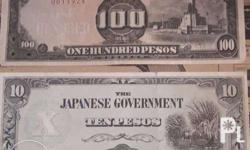 1943 Japanese Government Money Ten Pesos and One Hunded