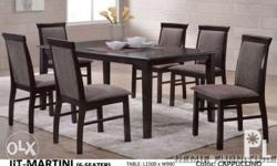 "wooden dining table with 6 chairs 59""L x 35.5""W 1500L x"