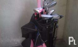 Junior golf clubs for sale of various lengths, good