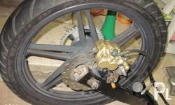Rear fork compleet with mag and tire and new sprocket