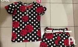 Kids terno with belt and necklace 350php 4 to 8yrs old