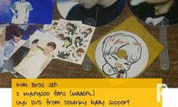 Myungsoo fans and Sunggyu dvd, plus stickers and photo