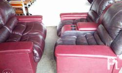 MAROON AND BROWN THEATER COUCH * Cypress Pt., Irisan,