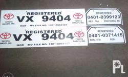 Temporary LTO Standard Plate For cars and motocycle