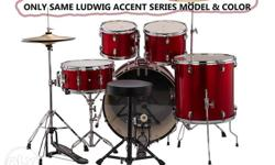 Ludwig Accent Drive 5-Pc Drum Set, Wine Red Sparkle -