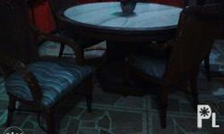Imported rattan chair w/steel brace & marble top round