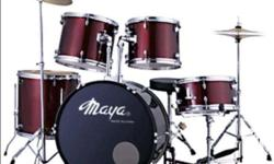 Color : WINE RED Full Size Complete Drum Set with