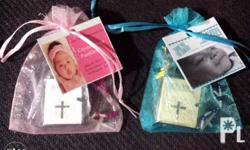 Mini Rosary and Mini Bible in pouch with thank you tag