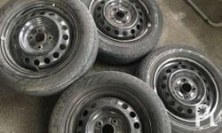 Mitsubishi mirage hatchback Stock steelies with tires