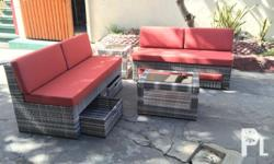 "Outdoor indoor rattan sofa, "" chick textured with"