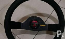 Momo racing steering wheel Genuine suede leather Good