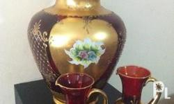 MURANO Italian Glass Vase (10.5 inches) 18k gold w/