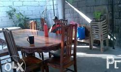 6 seater dining table with 6 chair full narra