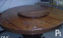 narra round table for sale with lazy susan and 8 seats