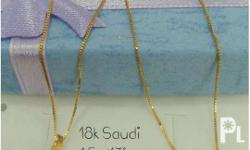 necklace gold 18k saudi gold 17'' size 1.5gram