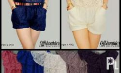 Clearance Sale Offshoulder lace jumpshorts Fit small to