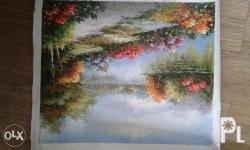 this is an oil paint canvas done in canada. i removed