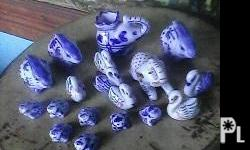 Deskripsiyon Vintage sets of animals blue n white
