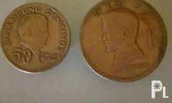 1967-1974 old coins, 50 centavos and 1 peso coin. 100