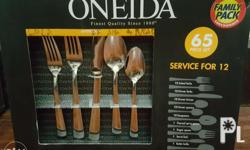 Brandnew oneida silver 65 piece set for 12. Its a gift.