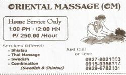 ORIENTAL MASSAGE(OM) HOME SERVICE ONLY 1PM-12MN