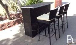 Outdoor rattan bar chairs and bar table Please inquire