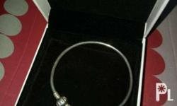 Pandora bangle silver with box and papet bag