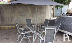 PATIO Outdoor Umbrella Table w/ 6 chairs set Surplus