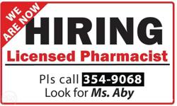 We are hiring licensed pharmacist who is willing to