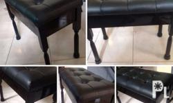 high gloss black wood leather piano bench with storage